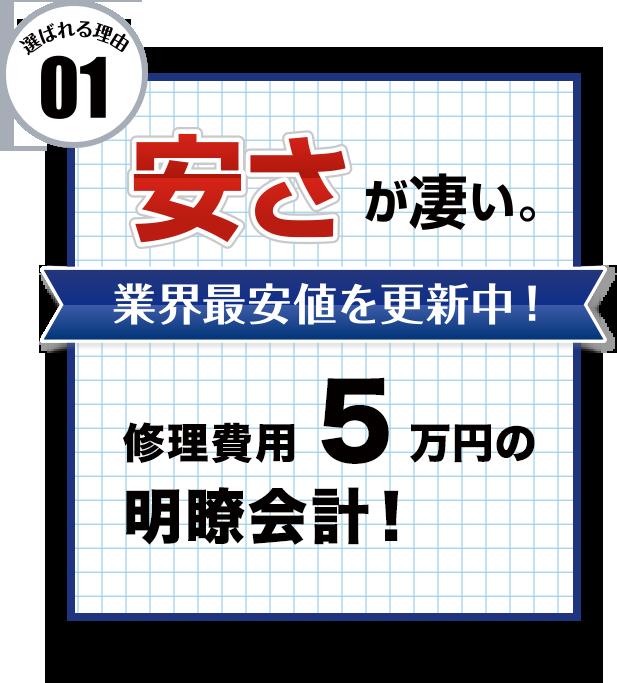 修理費用5万円の明瞭会計!